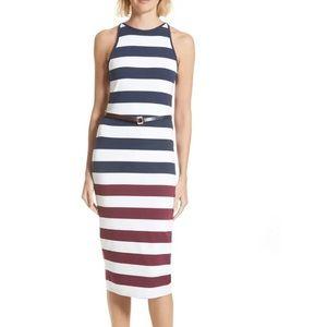 TED BAKER Yuni Stripe Body-Con Dress Navy 2 (4-6)